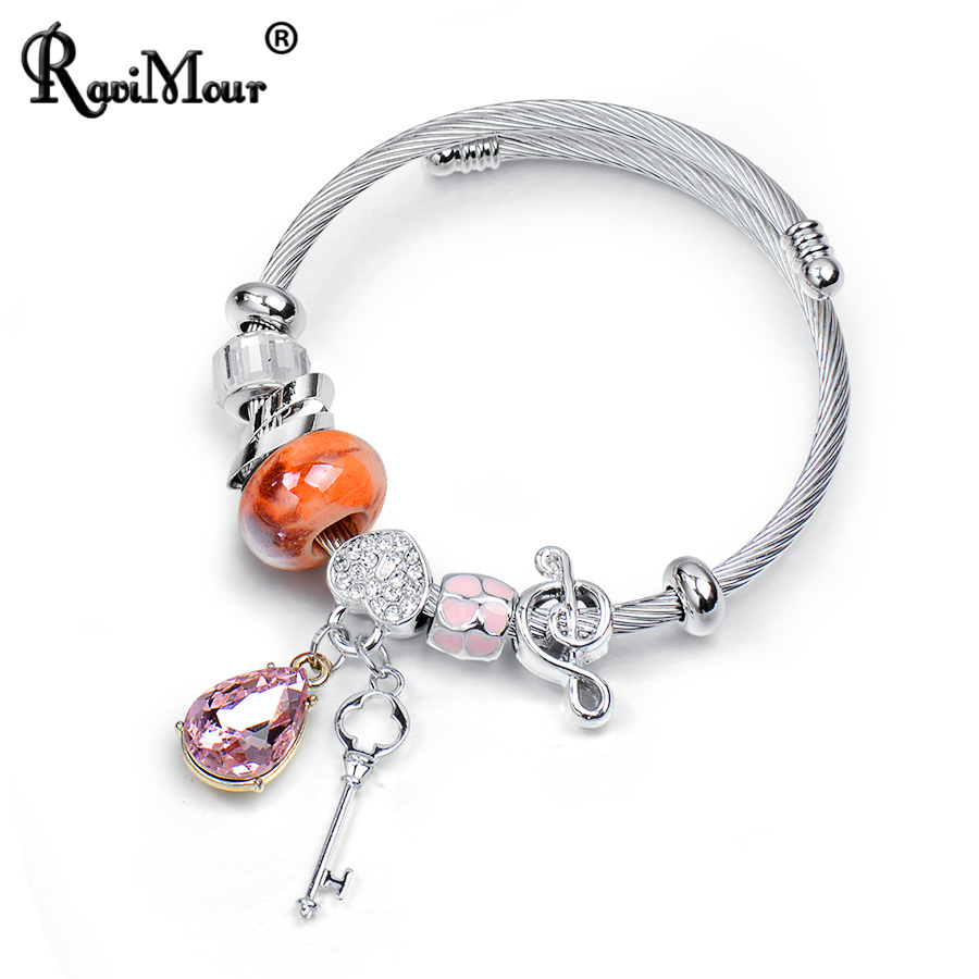 RAVIMOUR Silver Wire Chain Stainless Steel Bangles Crystal Water Drop Key Metal Bead Love Charms Bracelets Jewellery