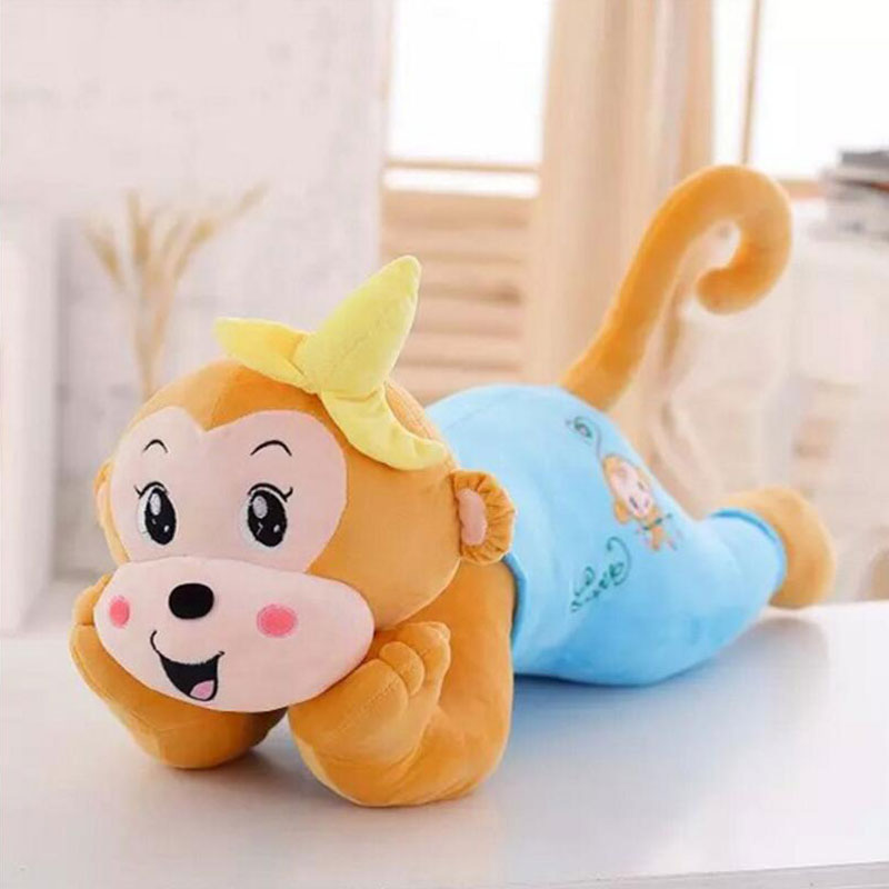 80CM Monkry Plush Toys Stuffed Doll Lovely lying Position Banana Monkey Doll Pillow Napping Pillow Plush Toys Doll цена 2017