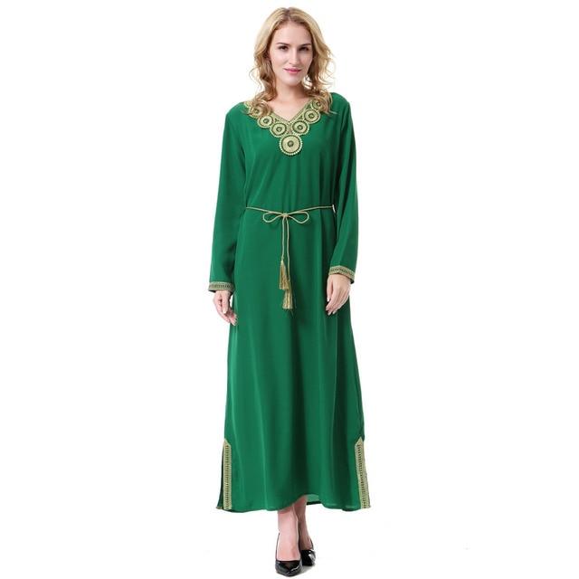 Women Linen Long Sleeve Patch Designs Appliques Hem Split Muslim Abaya  Dresses Islamic Clothing Vintage Arab Robes Saudi Arabia 95b3bcc1cb39