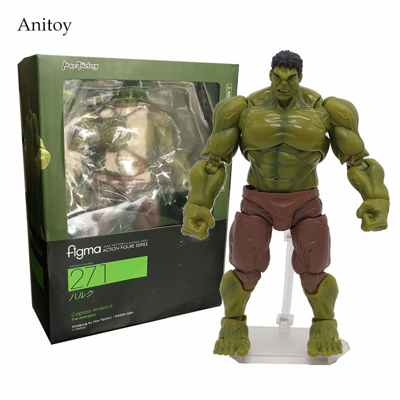 The Avengers Hulk Figma 271# 1/7 scale painted PVC Action Figure Collectible Model Toy 17cm KT1774 avengers movie hulk pvc action figures collectible toy 1230cm retail box