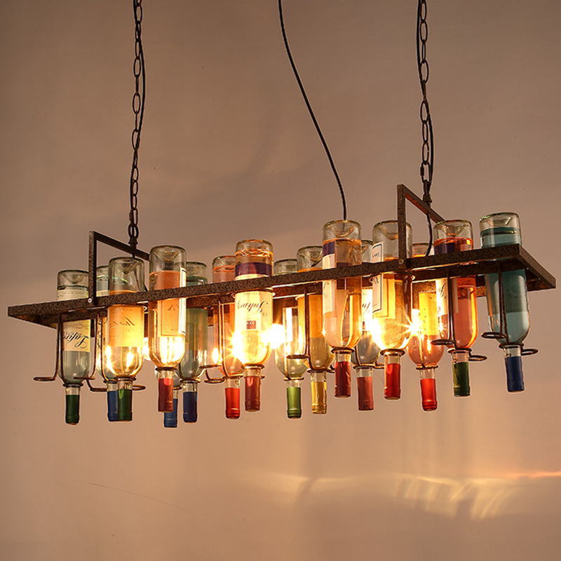 American Industrial Art Vintage Glass Wine Bottle Chandelier Lamp Nordic Lustre Modern Dining Room Kitchen Restaurant Light