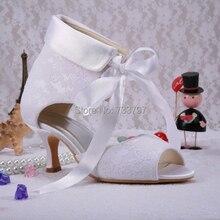 Wedopus Насосы Свадебные Туфли Летние Популярные Зашнуровать Ботинки Белые Кружева Обувь На Заказ