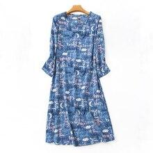 Fresh cartoon long nightgowns women 100 cotton autumn winter Fashion long sleeves women sleepdress indoor pyjamas