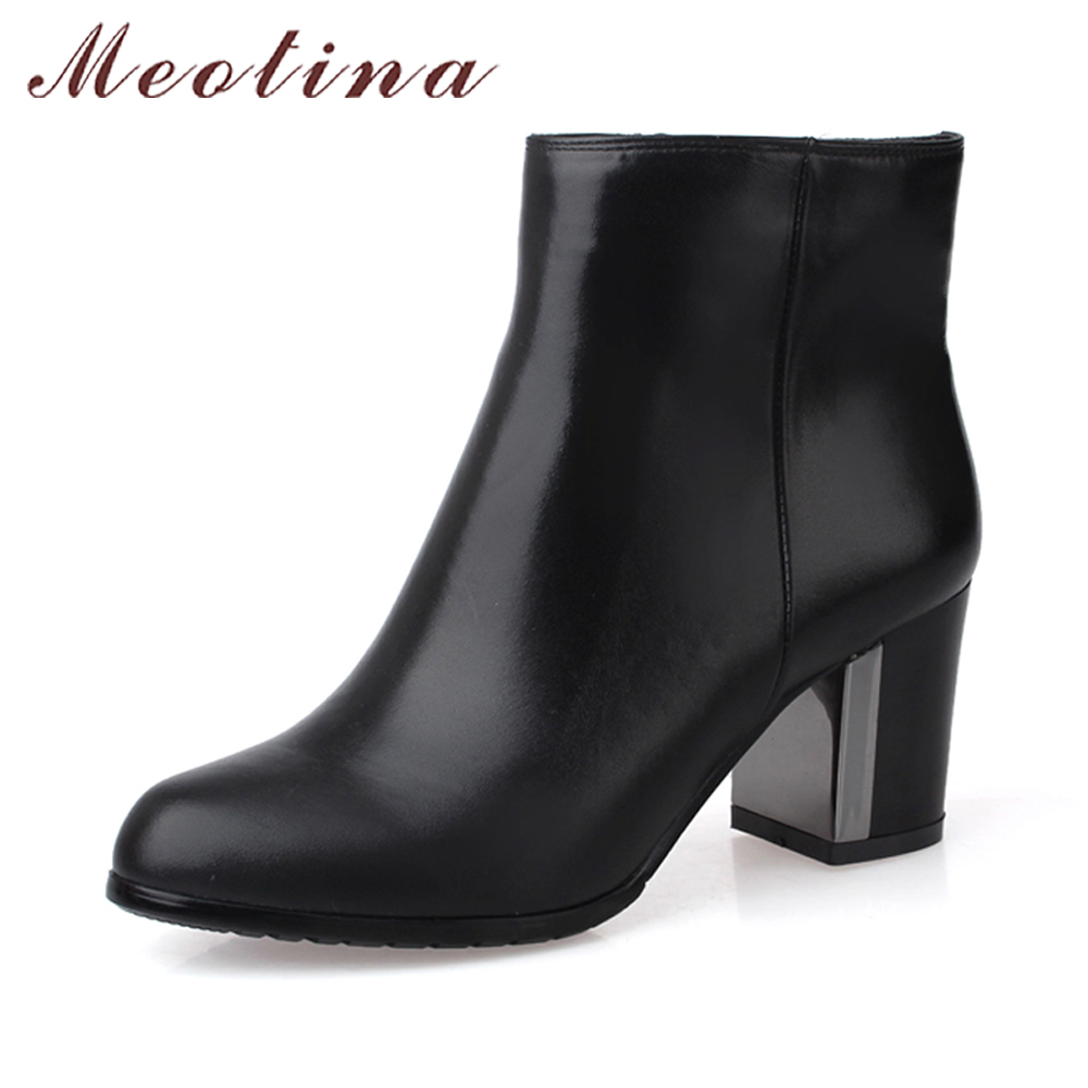 Meotina Genuine Leather Boots Women Ankle Boots High Heels Boots Real Leather Shoes Autumn Chunk Heel Round Toe Zipper Shoes asysplnx sheepskin genuine leather round toe high heels fashion knee high boots women autumn western platform zipper femal shoes