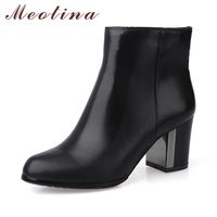 Meotina Genuine Leather Boots Women Ankle Boots High Heels Boots Real Leather Shoes Autumn Chunk Heel Round Toe Zipper Shoes