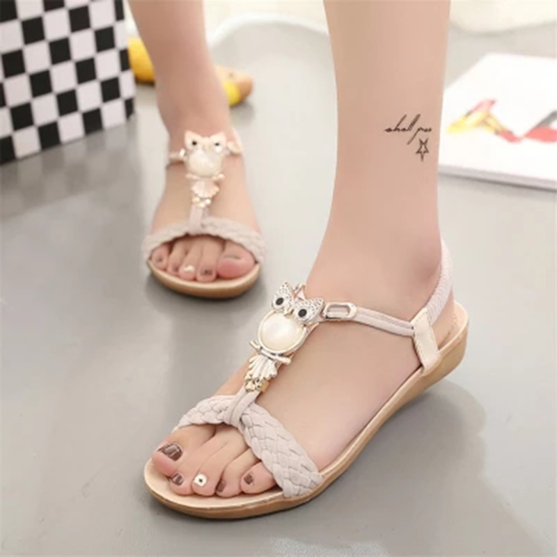 Shoes Women Sandals Owl Sandalias Mujer 2018 Casual Rome Summer Ladies Sandals Gladiator Sandals Shoes Woman handmade rome gladiator sandals women flats fringed tie up woman sandals shoes fur cross strap pompom sandals sandalias mujer 94