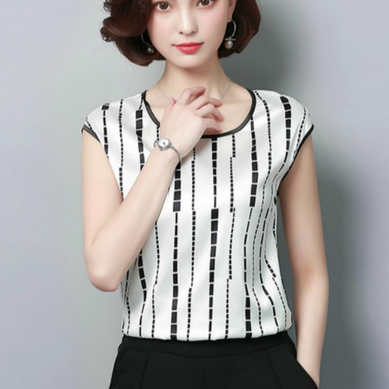 Women's   Blouse   2019 Fashion Summer Sexy Casual silk   Shirts   Women printed   Blouse     Shirt   Tops Party Girls Blusas Femininas D733 30
