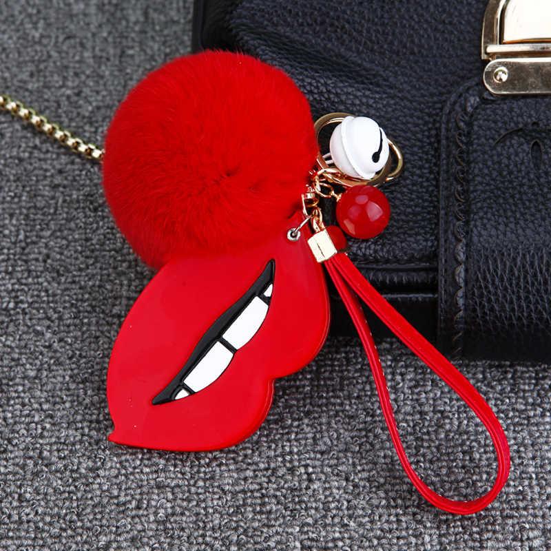 Chaveiro de coelho Pompom Pele Keychain Lábios Vermelhos Fluffy Rabbit Fur Pompons Chaveiro Emoji Chaveiro Pompom Chaveiro Chaveiro Sorvete
