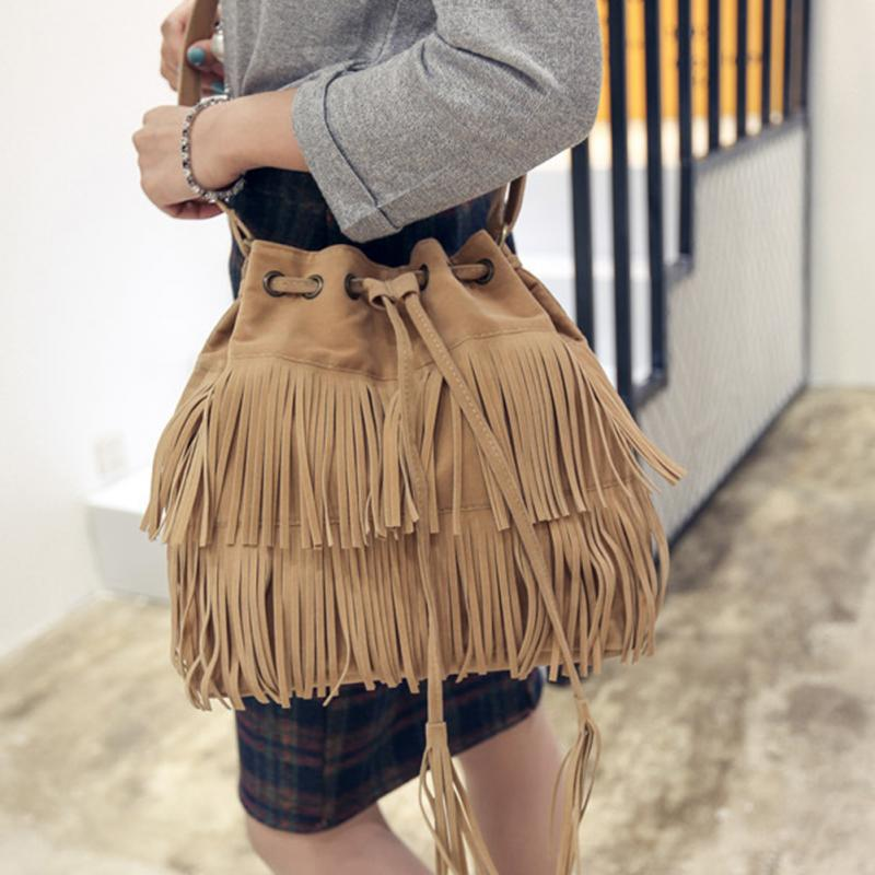 Women Shoulder Bags Vintage Tassels Bag Retro Faux Suede Fringe Messenger Bags Handbag Crossbody Bag Bolsa Feminina