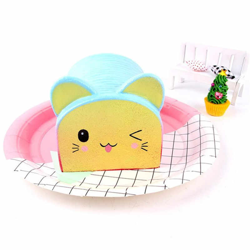 Dropshipping 13 cm Squishy gato de dibujos animados pan perfumado crema Slow Rising Squeeze descompresión StressReliever S3MAY28