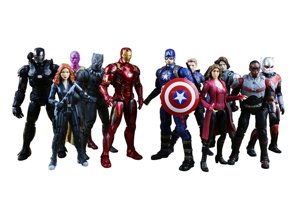 Disney marvel os vingadores super herói capitão américa civil clint homem de ferro tony stark brinquedo dos desenhos animados pvc figura de ação modelo presente