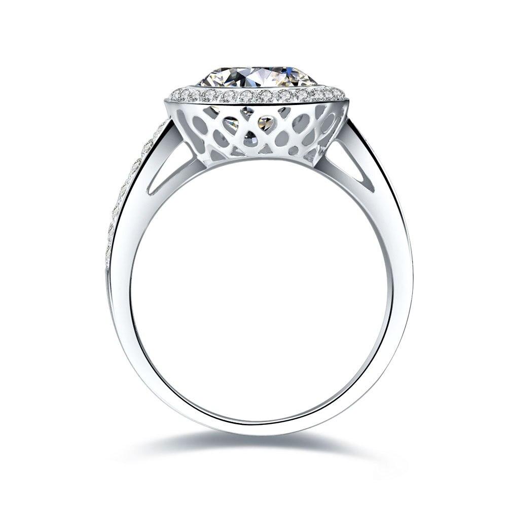 Threeman Великолепная Белое золото предложить отличные украшения проложить Micro 3CT синтетических алмазов кольцо для 750 женщин белого золота ювелирные изделия