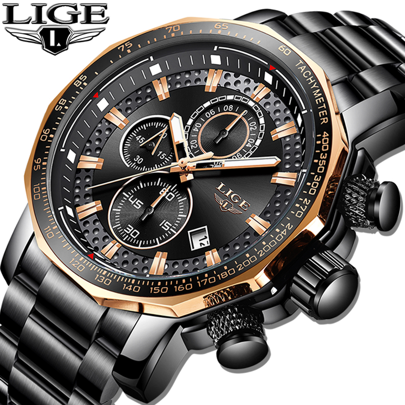 LIGE Mens Watches Quartz-Clock Sport Chronograph Waterproof Top-Brand Full-Steel Luxury