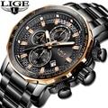 Reloj para hombre con cronógrafo deportivo para hombre, reloj de cuarzo de acero completo de lujo de marca superior, reloj de esfera grande resistente al agua para hombre