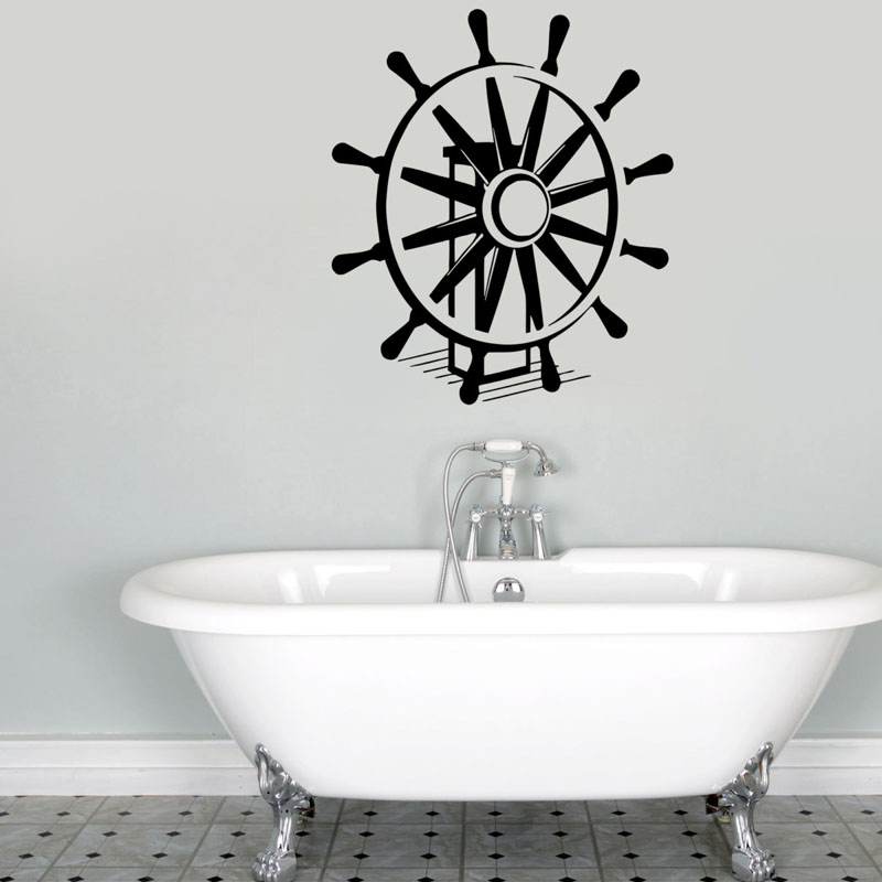 Ship Steering Wheel Vinyl Wall Stickers <font><b>Nautical</b></font> <font><b>Home</b></font> <font><b>Decorative</b></font> Art Wall Murals Waterproof