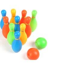 1 комплект, мини цветной пластиковый детский набор для боулинга, развивающие игрушки с шариками и заколками для детей, забавная игрушка, Спо...