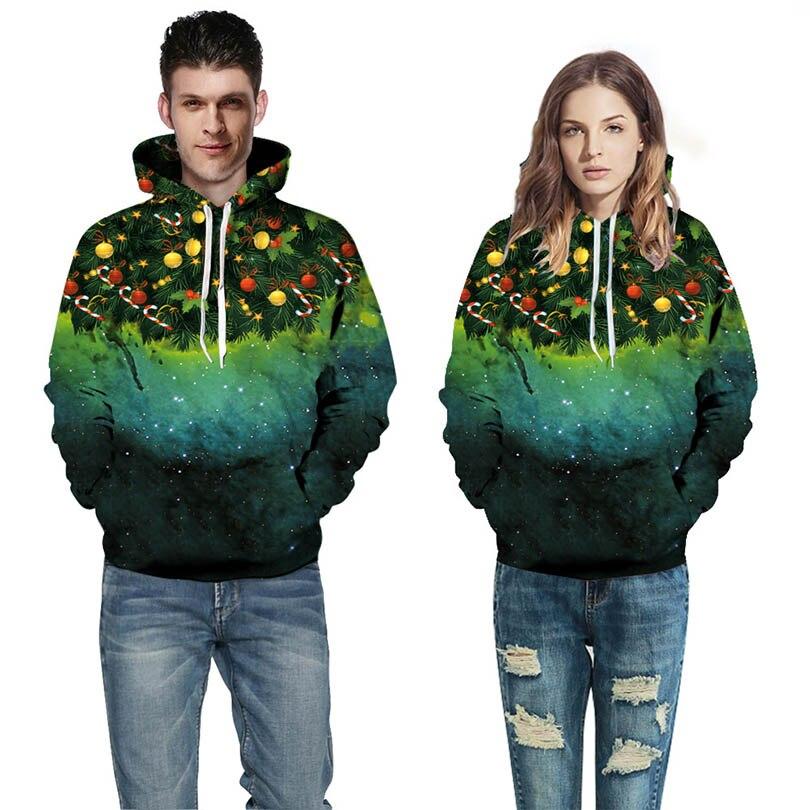 Star Christmas tree digital printing hooded Sweatshirts Casual Pullover Sweatshirt Hip Hop High Street Hoodies Men Women Hoodies
