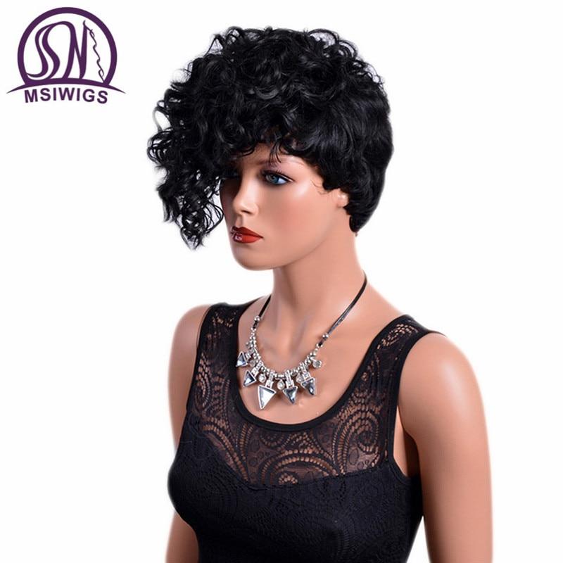 MSIWIGS Front Curly Back Straight Korta Paryk med Bangs Natural Black - Syntetiskt hår - Foto 2