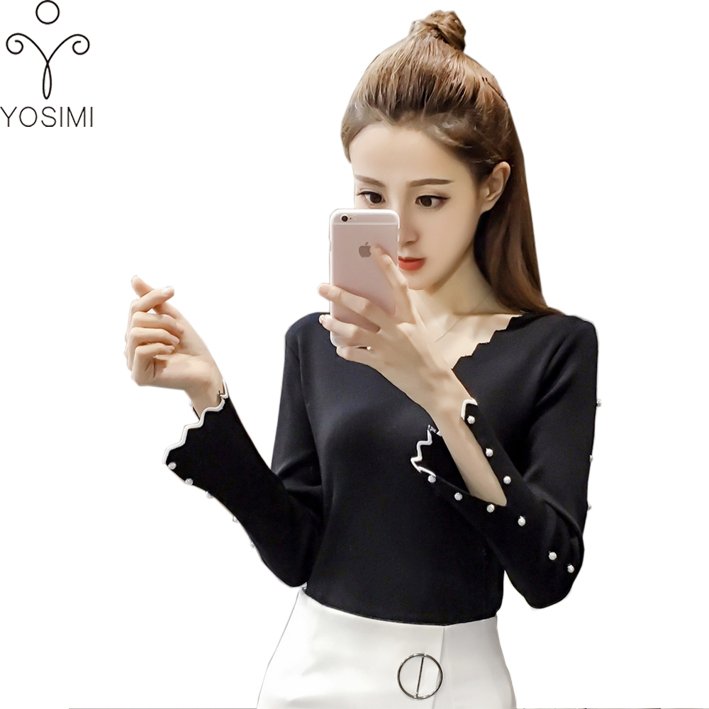 YOSIMI Store 2017 Women Autumn Winter Sweaters High Elastic Slim Warm Tight Bottoming Women Elegant Knitted Pullover basic  femme Top Skirt