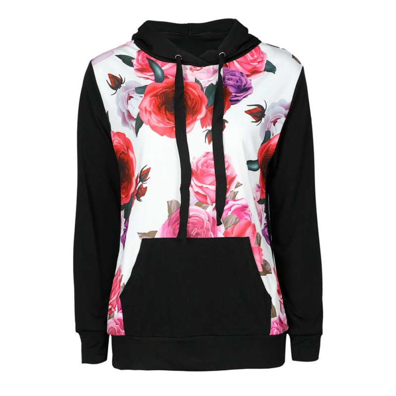 Women Hoodie Sweatshirt Long Sleeve Hooded Flower Print Pocket Pullovers Female Casual Sweatshirts
