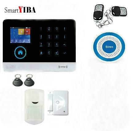 SmartYIBA Wireless wifi GSM Alarm System For Home Wireless Security Alarm System with Door Sensor Alarm Systems forecum 433mhz wireless magnetic door window sensor alarm detector for rolling door and roller shutter home burglar alarm system