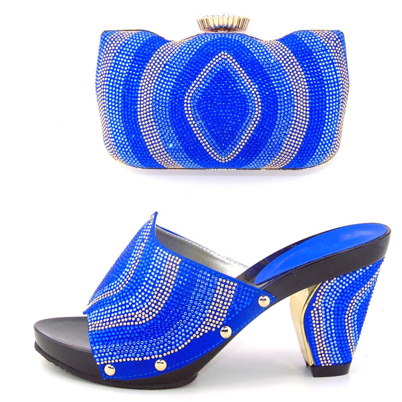 ФОТО good looking royal blue italian shoes and bag sets with lots of stones for party&wedding, high heel 8cm size 37-43 WDL1-12