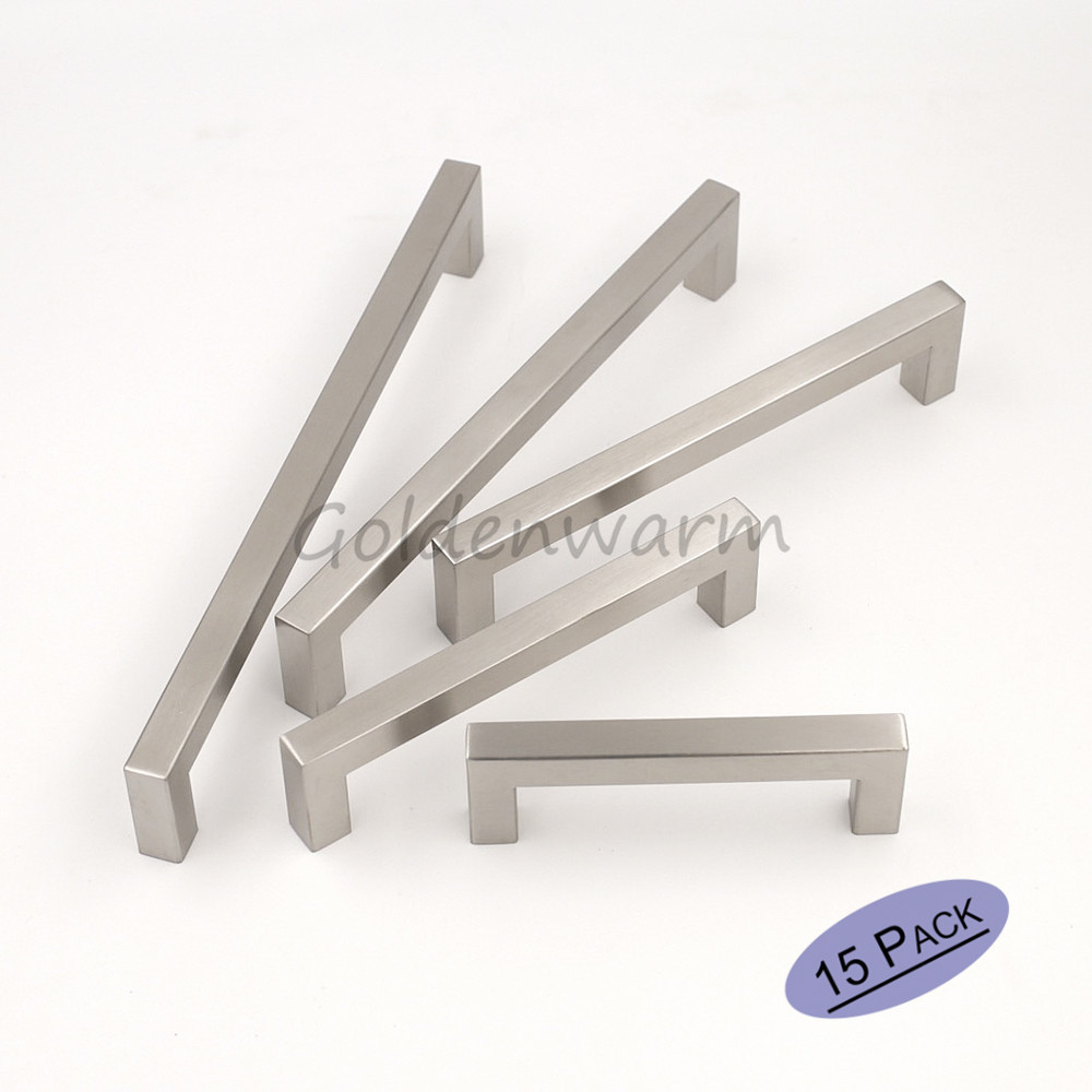 15 pack brushed stainless steel sliver cabinet pull square bar diameter 12mm kitchen door handle for