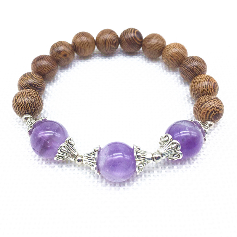 Beadztalk Natural Pink Rose Crystal Stone Wooden Round Beads Elastic Bracelets Yoga Bangle Fashion Jewelry Clothing accessories