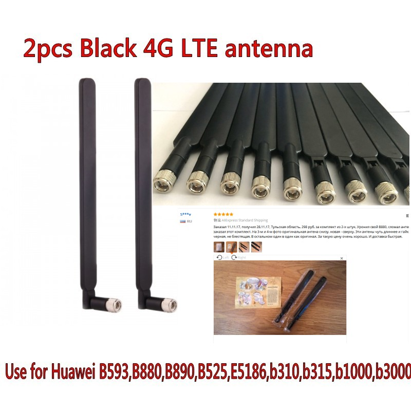 Noir 2 pièces B315 B310 B593 B525 B880 B890 E5186 5dBi SMA Mâle 4G LTE Routeur Antenne