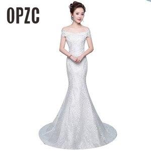 Image 1 - משלוח חינם חדש מכירה לוהטת אלגנטית יפה תחרה פרחי בת ים שמלות כלה Vestidos דה noiva robe de mariage כלה שמלה