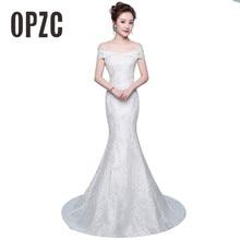 จัดส่งฟรีใหม่ขายร้อน Elegant ดอกไม้ที่สวยงามลูกไม้ชุดเดรสเมอร์เมด vestidos de noiva Robe de mariage เจ้าสาวชุด