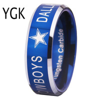 Free Shipping YGK JEWELRY Hot Sales 8MM Dallas Cowboys Design Men S Blue Tungsten Comfort Fit