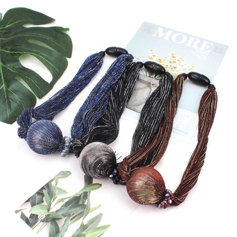 MANILAI Silk Wrap Big Gargantilla de perlas simulada collares para las mujeres de moda cuentas de cristal de joyas Collar declaración colgante Collar