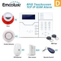 Network GSM Alarm Security System TCP/IP RJ45 Port IE Brouse Security Alarm Wireless Home Burglar Intrusion Anti Pet Touchscreen