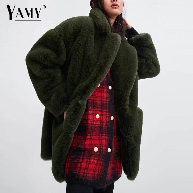 Femmes de fourrure de lapin manteau D'hiver vert faux manteau de fourrure femmes Chaud en peluche manteau à manches longues épaisse fourrure veste long manteau outwear 2019