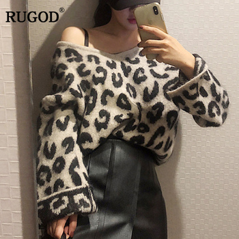RUGOD Fashion Leopard Sweater Women Casual Knitted Pullovers Women Autumn Winter Warm Clothes Female Tops sueter mujer фото