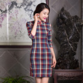 2015 Autumn cheongsam dress Plaid slim Qipao dress Chinese traditional dress women Daily cheongsam free shipping