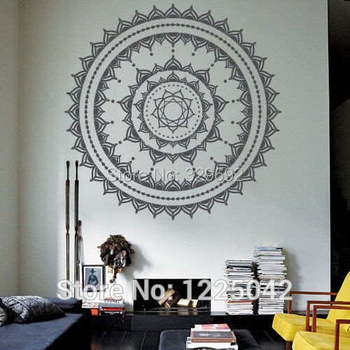 Free Shipping Cool wall art decal Yoga Mandala Om Indian Buddha Wall ...