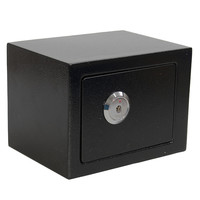 Durable Strong Iron Steel Black Key Operated Security Money Cash Safe Box Home Office House New
