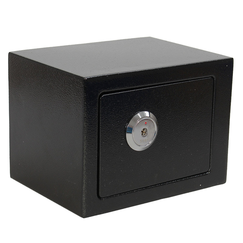 Durable  Strong Iron Steel Black Key Operated  Security Money Cash Safe Box Home Office House New Arrival 250a portable mini iron mini safe box cash box cash register domestic steel safe
