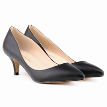 LOSLANDIFEN 5cm Kitten Heel Women's working Pumps Matte Patent Leather EUR35-42 Free Shipping Pointed Toe Lady's Shoes
