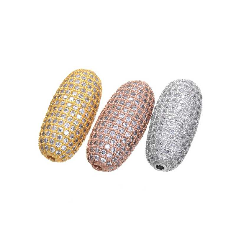 Wysokiej jakości złota wypełniony duże koraliki nowy moda cyrkonia duży otwór Micro paciorki pasuje do komponenty do wyrobu biżuterii akcesoria