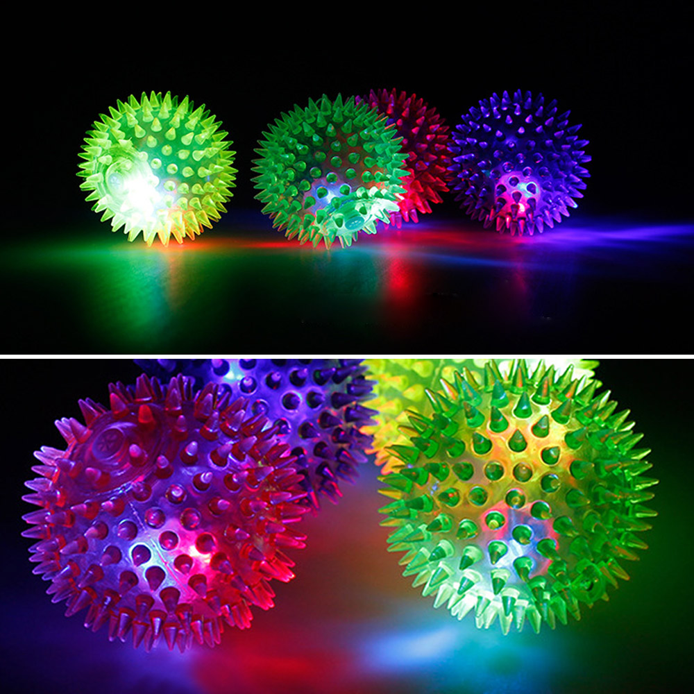 TAOS 12 PCS Assorted Colors LED Flashing Light Sounding Spike Bounce Bouncing Stress Ball Disco Dance Toy Ball Party Accessories