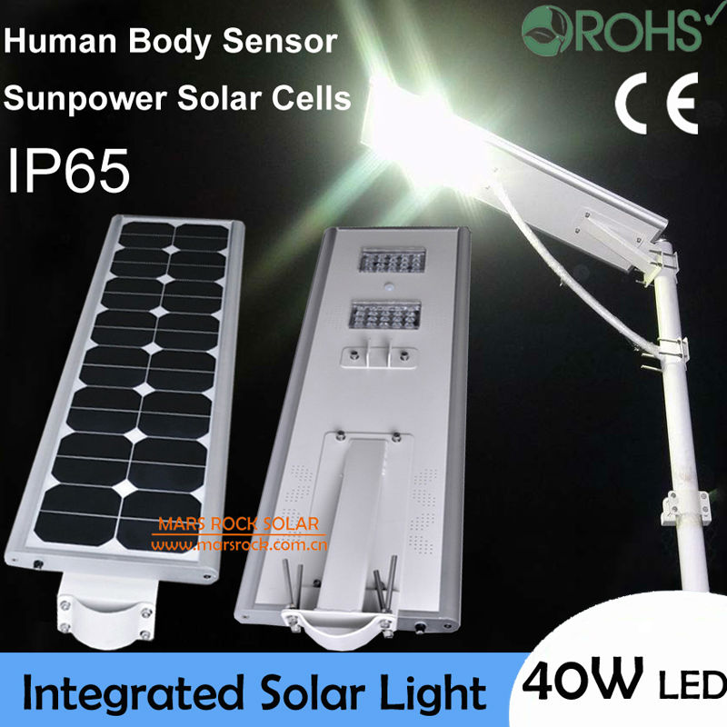 40W LED Solar Street Light,Solar Sensor Light,60W Solar Panel 27AH Battery All In One,Integrated Outdoor Solar Light, Waterproof