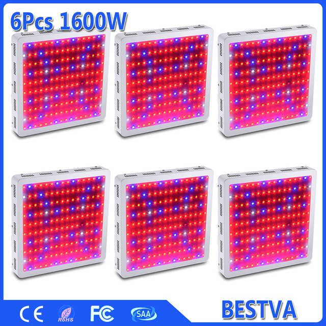 "6PCS ""GrowBloom Champion"" 1600W Full Spectrum Medical Plants LED Grow light Panel  designed with newsest 10W double chips LEDs"