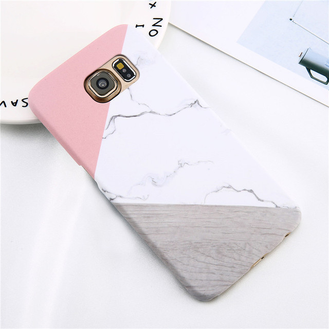 Loveabay Phone Case For Samsung Galaxy S6 S7 Edge Marble Geometric Stitching Stone Hard Back Cover Cases For Galaxy S8 S9 Plus  4