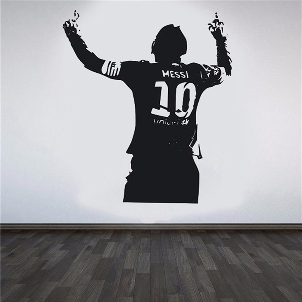 Zwart PVC Enorme Football Ster Lionel Messi Figuur Muursticker Vinyl DIY Kids Woonkamer Muursticker Decals Voor Voetbal liefhebbers 2