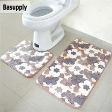Basupply 2pcs/set Bathroom Mat Coral Fleece Memory Foam Rug Kitchen Toilet Non-slip Floor Carpet Mattress For Bathroom Decor(China)
