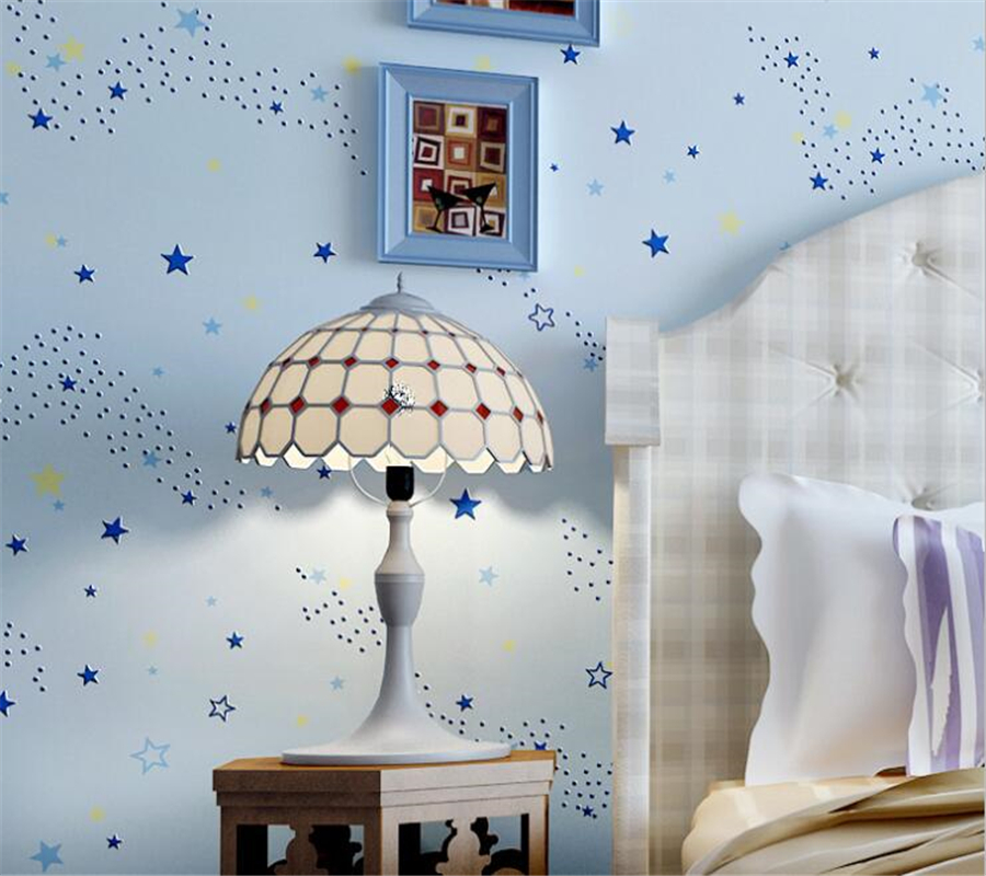 Children's room decoration green wall paper little girl cartoon cute children's bedroom 3D wallpaper boy stars Beibehang beibehang wall paper pune girl room cartoon children s room bedroom shop for environmental non woven wallpaper ocean mermaid