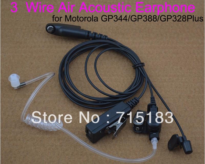 Casque d'écoute 3 fils Tube d'air clair casques d'écoute écouteur acoustique pour Motorola GP344 GP388 GP328Plus GP338Plus radio portable
